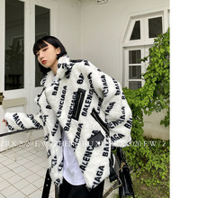 W W drukowane jagnięta pluszowy płaszcz dla kobiet zrelaksowany 2020 zima nowy ins gruby wełniany płaszcz tanie tanio COTTON CN (pochodzenie) Wiosna jesień Krótki Osób w wieku 18-35 lat MANDARIN COLLAR zipper Rozwijane ramię Pełna Luźne