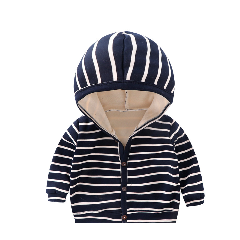 Baby Spring Autumn Striped Cardigan Button Velvet Lining Clothes Newborn Infant Baby Girls Boys Long Sleeves Coat Tops Jacket