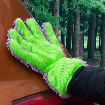 2 sztuk rękawice do mycia samochodów rękawice do mycia samochodów samochód środki czystości samochód rękawice do mycia chenille + kanapka tkaniny tanie i dobre opinie Adeeing Funkcja peeling