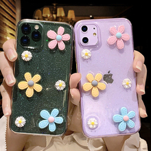 3D Flowers Glitter Phone Case For iPhone 11 Pro 7 8 6 6s Plus X XR XS Max SE 2020 Transparent Bling Soft TPU Silicone Back Cover glitter powder holder phone case for iphone 11 x xr xs max 6 6s 7 8 plus transparent soft tpu wrist strap shockproof back cover