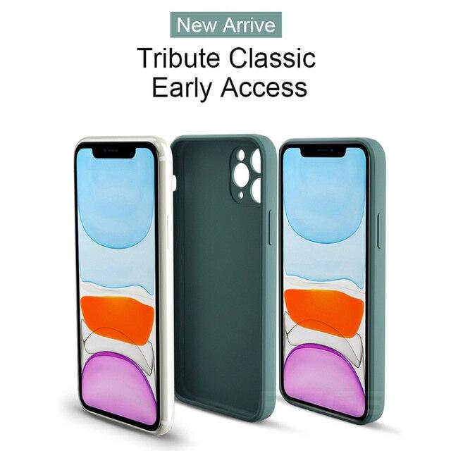 Luxury Orignal Square Edge Soft Liquid Silicone Case For iPhone 12 11 Pro XS Max Mini X XR 6S 7 8 Plus SE 2020 Shockproof Cover 5