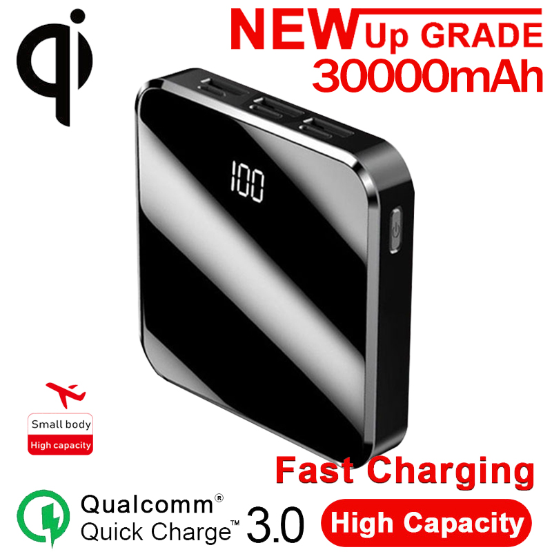 QI Wireless Charger 3 USB Mini 30000mAh Power Bank Digital Display LED Lights External Battery Ultra-thin Portable Fast Charger
