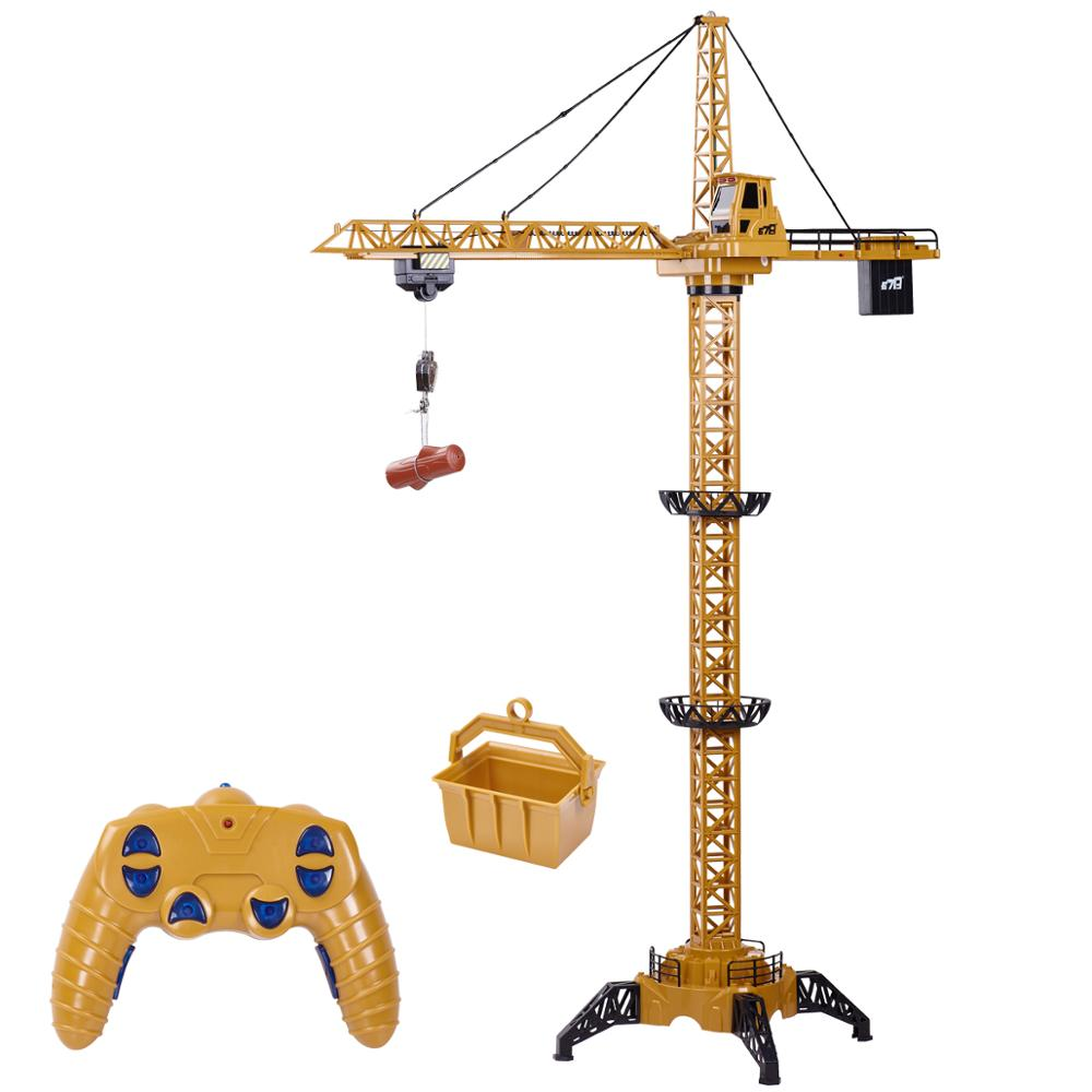 RC Tower Crane 6CH 128CM 680°Rotation Lift Model 2.4G Remote Control Construction Crane Toy With Light & Sound For Kids Gift