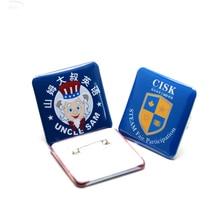 100pcs 35*35mm square button badge parts blank button badge