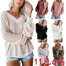 2019 Europe And America Autumn And Winter Thread Big V-neck Waffle Long Sleeve T-shirt Tops