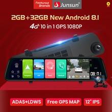 Junsun Android 8,1 2GB + 32GB ADAS 10 en 1 cámara de coche espejo DVR Cámara 4G WIFI GPS Bluetooth 1080P HD completo grabador de vídeo