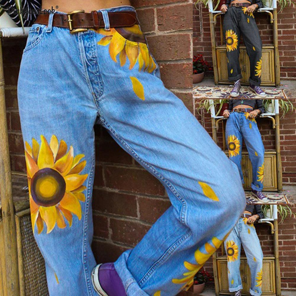 Sun Flower Loose Denim Trousers Vintage Woman Jeans 2019 Autumn Casual Denim Wide Leg Pants Oversize High Waist Woman Jean D30