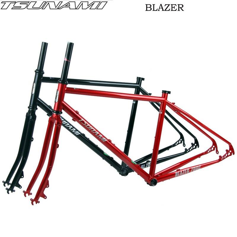 TSUNAMI BLAZER-700C Road  Cross-country  Bike Touring Frameset CR-MO Steel Disc Brake Classic Steel Frame Fork 46/49/52CM