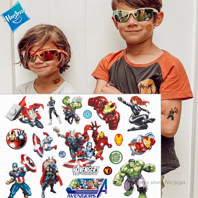 Hasbro Hulk Spiderman Avengers Marvel Children Cartoon Temporary Tattoo Sticker For Boys Cartoon Toys Waterproof Party Kids Gift