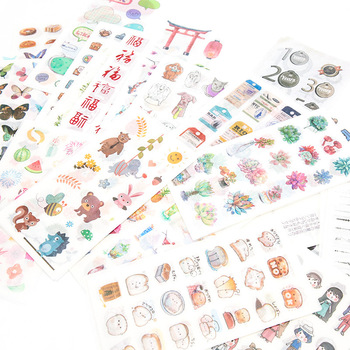 Kawaii Cartoon Stickers Aesthetic Japanese Paper Girly Scrapbooking bullet journal Album Decorative Collage stationery Sticker 60pcs lot recalling the time paper sticker decoration diy cartoon scrapbooking stickers album kawaii sticker stationery