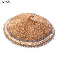 Winter Wool Beret Hats For Women Knitted Cap Beanie Mushroom Hat Vintage Female Flat Chapeau Femme British 2019