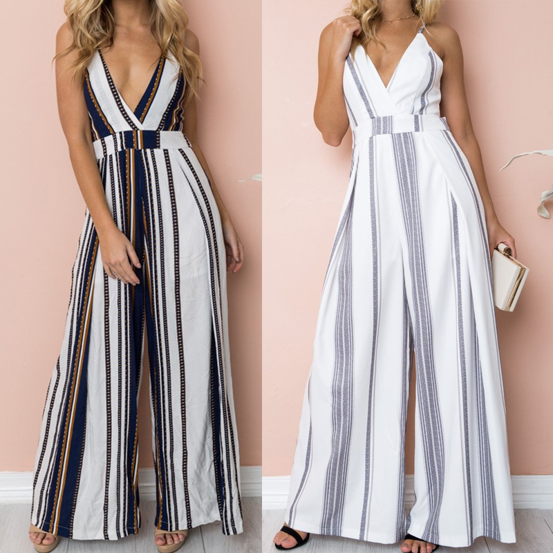 Women Sexy Long Jumpsuit Summer Deep V Neck Sling Backless Bandage Overalls Casual Lady Striped Print Boho Beach Wide Leg Romper