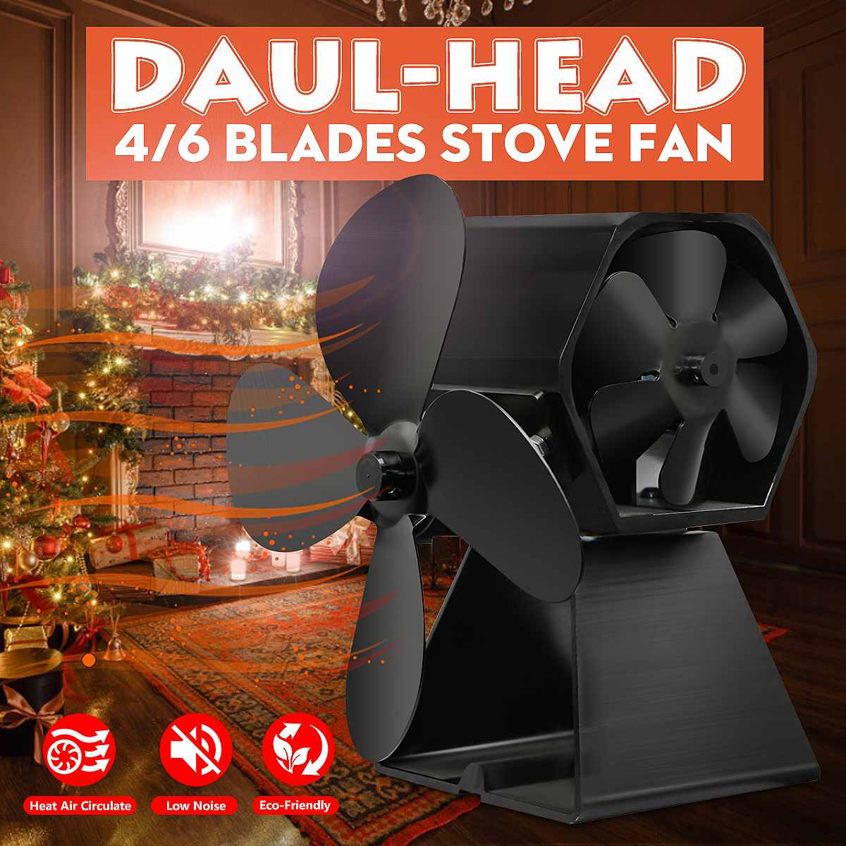 2/3/4/5 Blade Mini Heat Powered Fireplace Fan Stove Fan Eco-Friendly Thermal Wood Log Burner Warmer Fan Home Decor