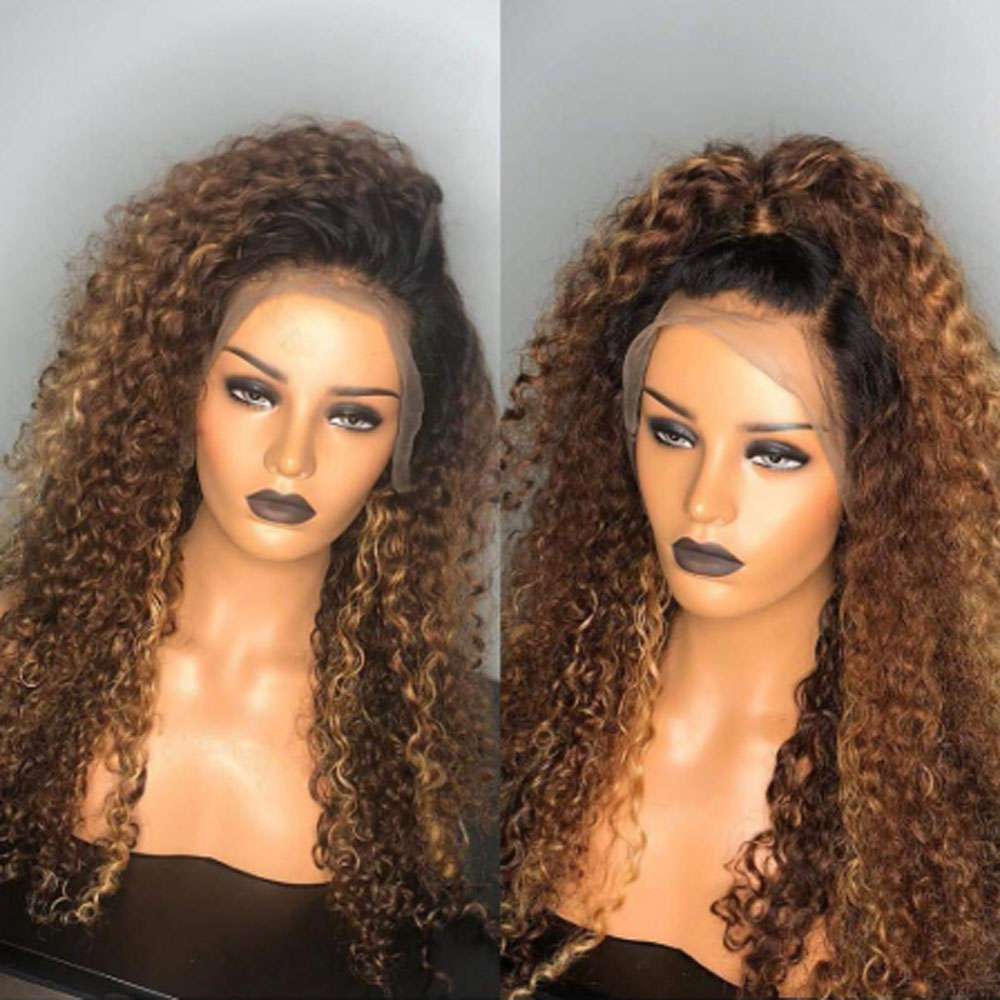 10- 26 Inch  Kinky Curly Wig  Ombre 360 Lace Front Human Hair Wigs Pre Plucked Lace Frontal Wig For Women Remy Black Hair Wig