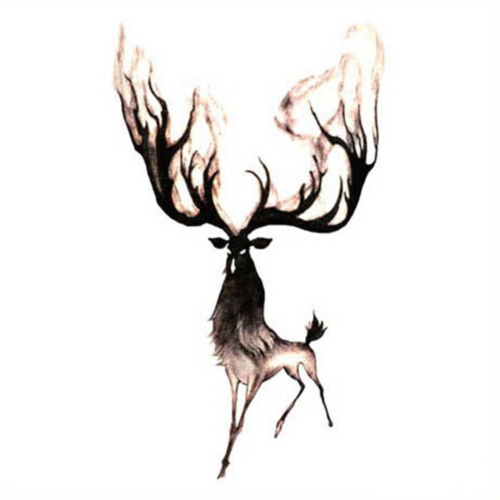 Waterproof Temporary Tattoos Sticker Transfer Fake Flash Moose Deer Bucks Tattoo for Men Girl