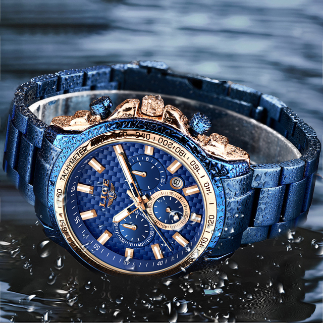 LIGE 2020 New Fashion Blue Watch,Mens Watches Top Brand Luxury Clock Man Military Chronograph Quartz Watch Men Relogio Masculino