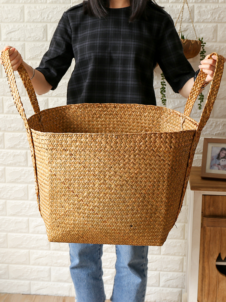 Nordic Creative Home Straw Receiving Basket Bathroom Large Dirty Clothes Basket Washing Basket Knitting Handbag
