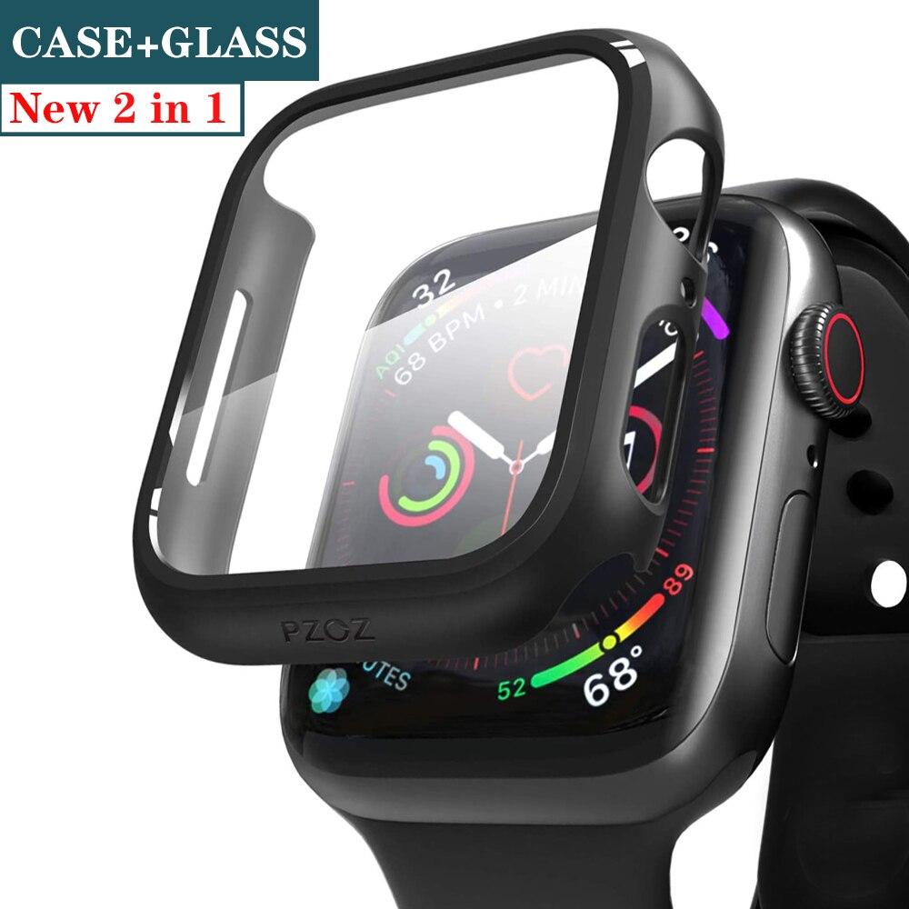 Cristal + cubierta para funda de Apple Watch, Protector de pantalla de 44mm y 40mm para iWatch de 42mm y 38mm, accesorios de parachoques para Apple Watch series 5 4 3 SE 6