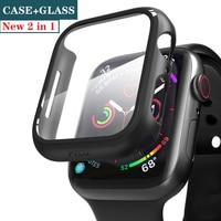 Vidrio + para carcasa de reloj Apple 44mm 40mm iWatch 42mm 38mm Protector de pantalla + parachoques accesorios apple Watch serie 5 4 3 SE 6 44