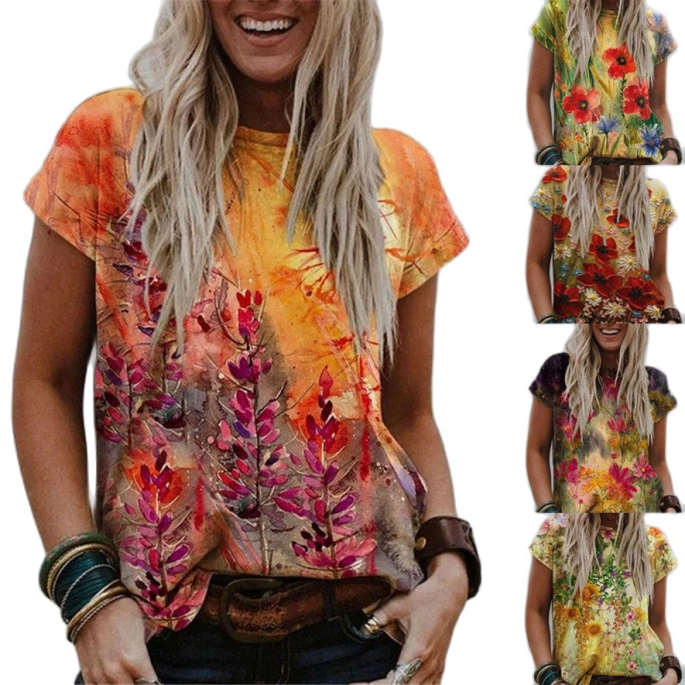 Women T-Shirts Short Sleeve Casual Tee Summer Flower Print Fashion Tops 5XL Oversized Female Loose T-Shirt O-Neck Plus Size