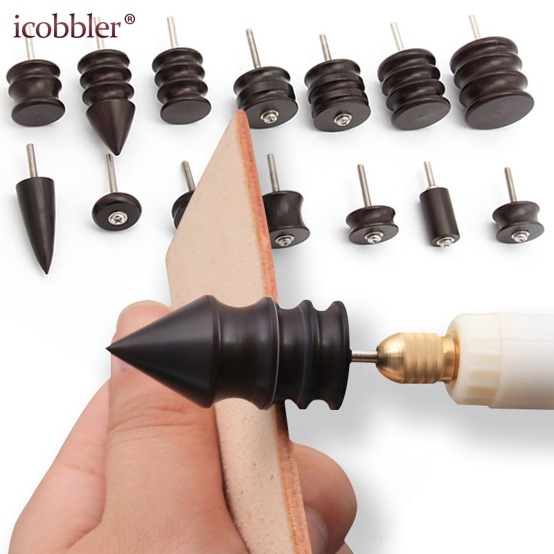 DIY Leather Grinding Tools Mini Portable Drill Versatile Polishing Machine Bits Tools Kit Purple Sandalwood Grinding Head Suit