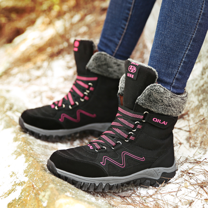 2020 New Arrival Fashion Suede Leather Women Snow Boots Winter Warm Plush Women's boots Waterproof Ankle Boots Flat shoes 35-42