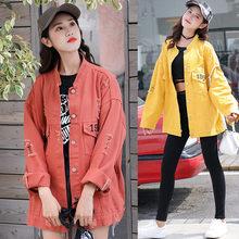 Autumn winter womens denim jacket 2019 Harajuku boyfriend wind loose long-sleeved coat large size rose Red
