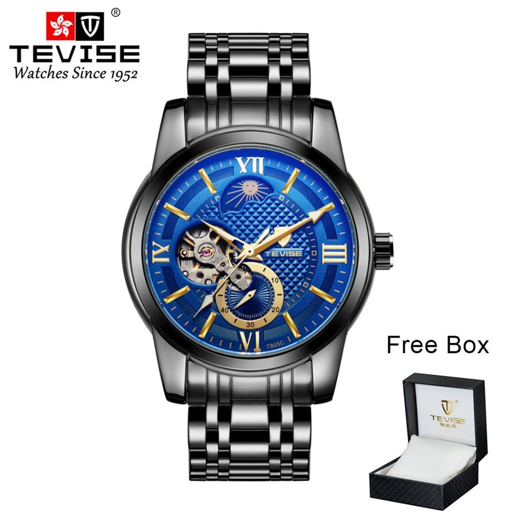 TEVISE Men's Mechanical Watch Stainless Steel Belt T805c 4 Pointer Needle Box Packaging Luminous Mechanical Watch Waterproof