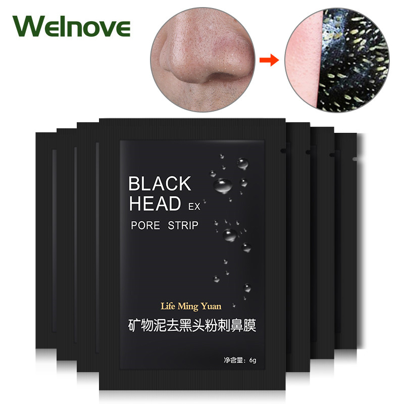 5pcs/5bags Blackhead Remover Strip Black Face Mask Peeling Acne Treatment Mineral Mud Nose Pore Cleaning Sticker Skin Care D2337