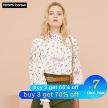 Metersbonwe Women Floral Printing Blouses  New Fashion Loose Sweet Girls Student Official Blouse Shirt Casual Tops
