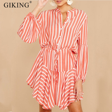 GIKING Casual Shirt Dress Women 2019 Fashion Turn Collar Stripe Print Mini Dresses With Belt Autumn Long Sleeve Office Dress fashion autumn women shirt dress casual irregular short dress belt turn down collar 3 4 sleeve vintage sexy mini shift dresses