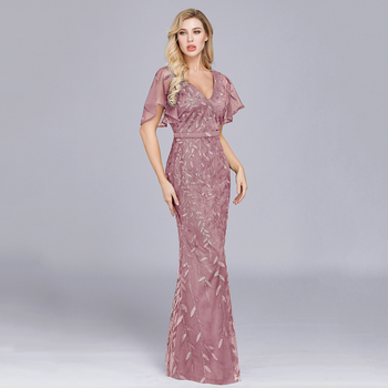 Sparkle Sexy Mermaid Evening Dresses Long Sequined V-Neck Sparkle Evening Gowns For Party Vestidos Largos Fiesta 2019 New Dress 4