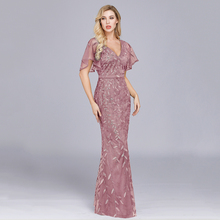 Sparkle Sexy Mermaid Evening Dresses Long Sequined V-Neck Sparkle Even