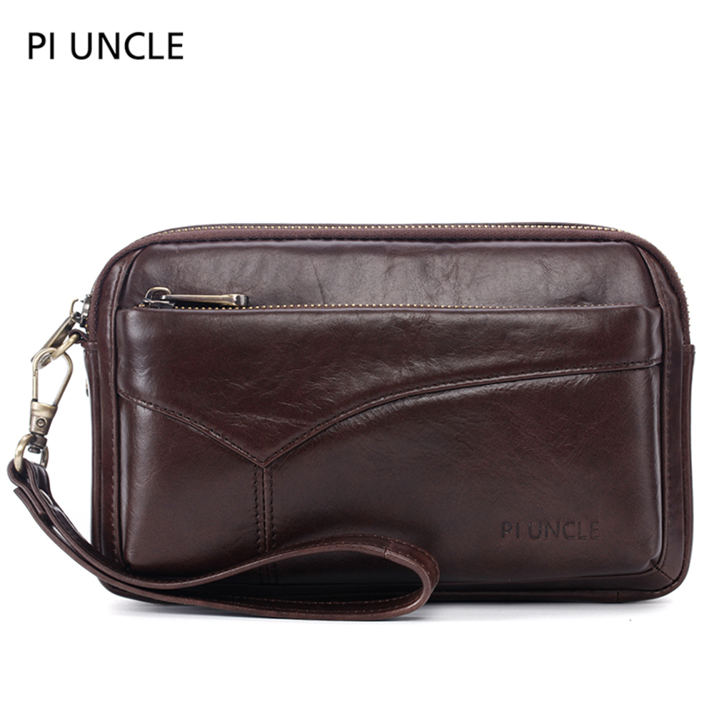 Leather Handbag For Men Large Capacity Passport Purse Mobile Wallet Soft Double Zipper Messenger Bag Clutch Case Letter