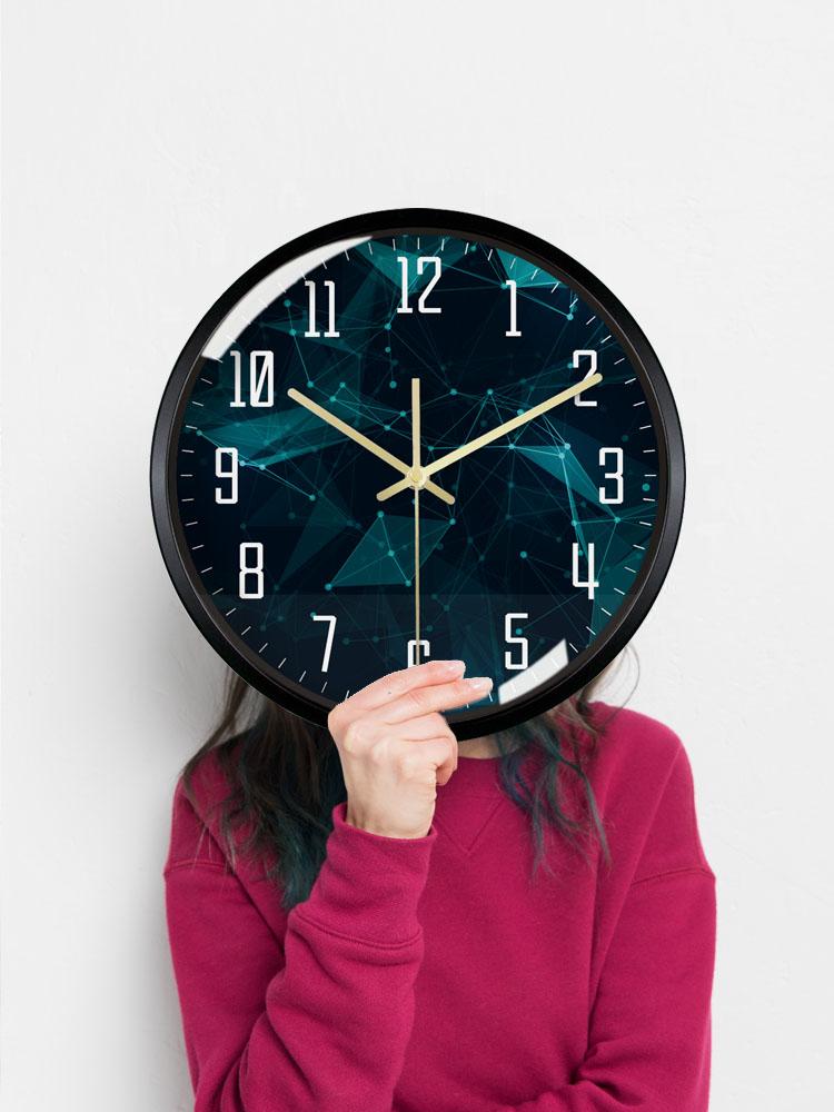 Large Black Wall Clock Metal Creative Silent Bedroom 3d Wall Watch Living Room Orologio Da Parete Modern Home Decoration KK50WC