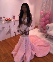 See Through Long Prom Dresses 2020 Sexy Mermaid Beaded Lace 3D Rose African Black Girl Pink Gala Prom Dress