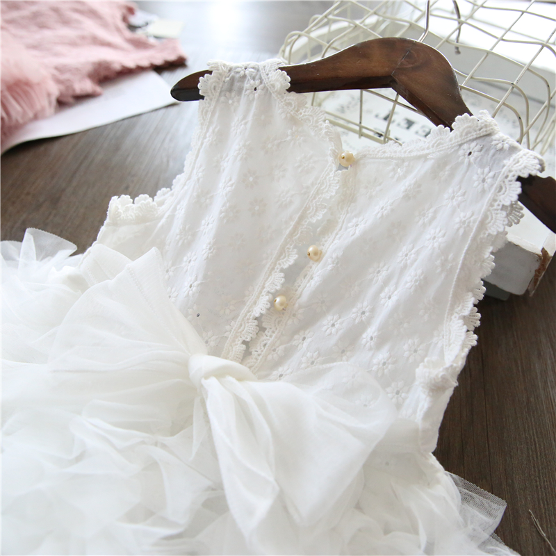 White Lace Little Girl Princess Dress Fluffy Cake Smash Dresses Kids Wedding Party Wear Birthday Tutu Gown Children Clothes 3-8T 2