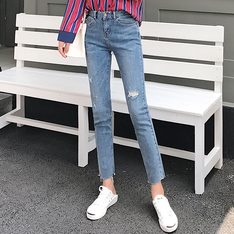 CHIC Pants Straight-Cut High-waist Ankle-length Jeans Women's With Holes Korean-style Flash Powder Feet Students' Pants