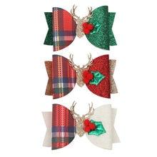 """3 """"Рождественские блестящие заколки бантики для волос аксессуары"""