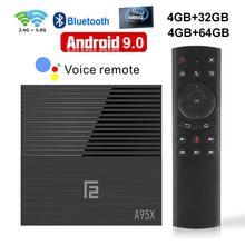 تي في بوكس أندرويد 9.0 A95X F2 Amlogic S905X2 2GB 4GB 16GB 32GB 64GB 4K الذكية صندوق التلفزيون مشغل الوسائط 2.4G & 5G المزدوج واي فاي يوتيوب Netflix
