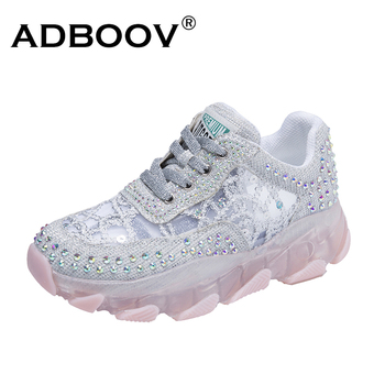 ADBOOV Lace Design Trendy Women Sneakers Rivets Fashion Shoes Ladies