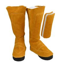 Welder's Feet And Shins Cover Boots Cowhide Protector Anti-fire Insulation Sputtering for Welding Metallurgy Feet Protection цена и фото