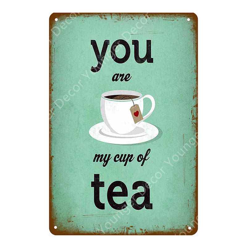 BROWN To Tea or not to Tea.. Metal Wall Sign Plaque Vintage Classic Retro Cup