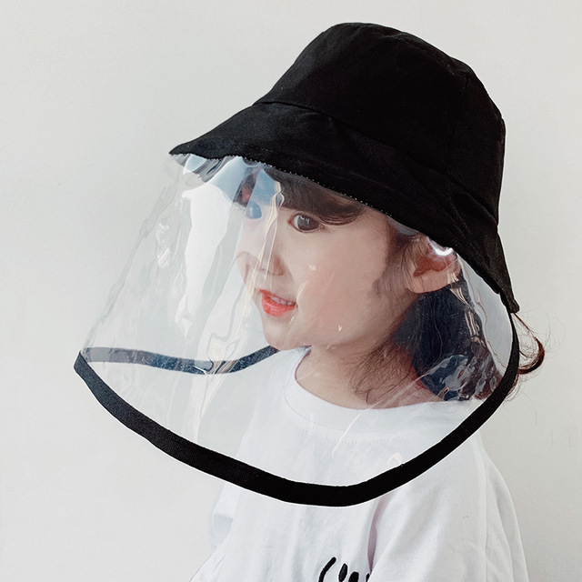 Baby Bucket Hat Protective Full Face Shield Cover Kids Hats Anti Saliva Dustproof Dual-use Sun Hat Cap With Clear Facial Mask 2