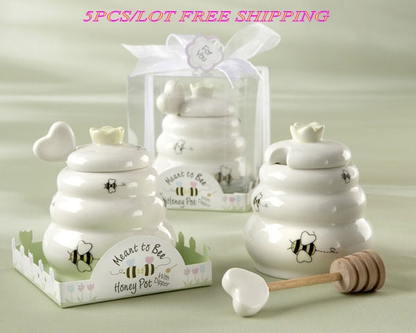 (5 Pieces/Lot) Wedding Souvenirs Of Meant To Bee Ceramic Honey Pot For Bridal Shower Birthda Gift And Baby Decoration Favors