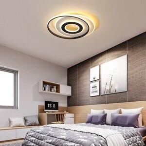 Image 4 - LedLamp rodada lustre lustres Iluminação Lustre Moderno Preto e Branco para Sala de estar Quarto Cozinha lâmpada do teto Lustre