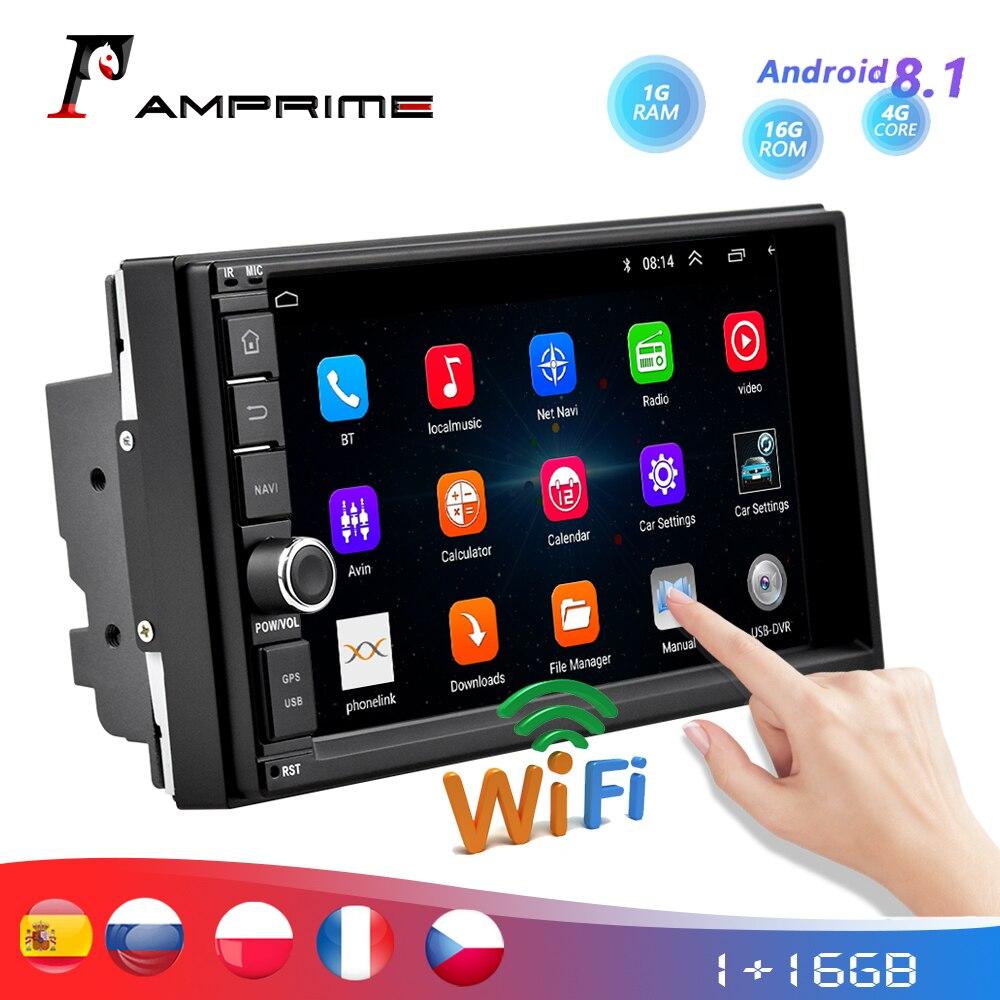 AMPrime 2 Din автомагнитола 7 Android автомобильный мультимедийный gps навигатор Bluetooth Сенсорный экран Wifi автомобильный аудио стерео FM USB MP5 плеер