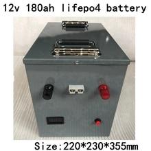 Портативный водонепроницаемый Lifepo4 12v 180AH lifep4 аккумулятор BMS 4S 12,8 v для лодки гольф тележка аварийное освещение Инвертор+ 10А зарядное устройство