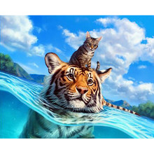 DIY Diamond Painting Tiger And Cat Full Drill Round Diamond Embroidery Picture Rhinestone Diamond Mosaic Cartoon Home Decor