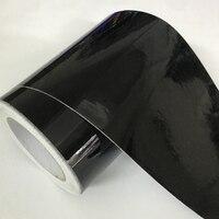 Rollo de envoltura de vinilo para coche, adhesivo negro brillante de 10cm de ancho